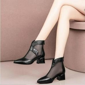 Mesh Fashion Pointed Head Breathable Hollow Boots, Shoe Size:37(Black)