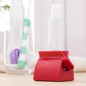 Anya tandpasta Facial Cleanser hand crème automatische Squeezer Badkamerbenodigdheden  grootte: S 5.2 x 3.9 x 4.1 cm (rood)