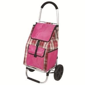 Draagbare Trolley vouwen winkelwagentje boodschappenwagen multifunctionele outdoor kleine kar (Roze)