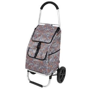 Draagbare trolley vouwen winkelwagentje boodschappenwagen multifunctionele outdoor kleine kar (bruin)