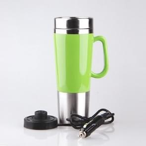Elektrische water geïsoleerde auto mok reizen verwarming Cup waterkoker  capaciteit: 450ML  spanning: 12V (groen)