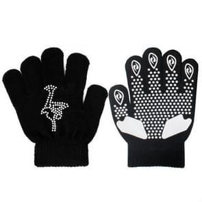 Non-slip upgrade versie kinderen schaatsen handschoenen volledige vinger Rhinestone anti-slip handschoenen (Ice Man zwart)