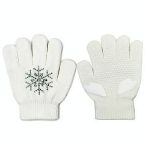 Non-slip upgrade versie kinderen schaatsen handschoenen volledige vinger Rhinestone anti-slip handschoenen (Snowflake wit)