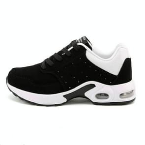 Portable Breathable Casual Sports Shock Absorber Running Shoes Not Cashmere, Size:37(Black White)
