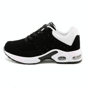 Portable Breathable Casual Sports Shock Absorber Running Shoes Plus Cashmere, Size:37(Black White)