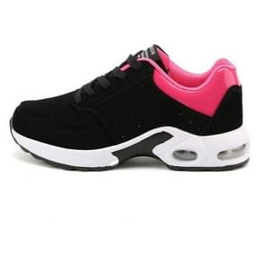 Portable Breathable Casual Sports Shock Absorber Running Shoes Plus Cashmere, Size:42(Black Rose)