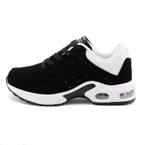 Portable Breathable Casual Sports Shock Absorber Running Shoes Plus Cashmere, Size:42(Black White)