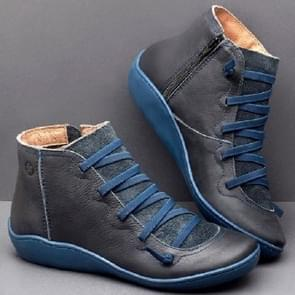 PU Boots Lace-Up Retro Flat Women Boots, Size:35(Blue)