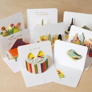 2 stuks driedimensionale vakantie cartoon verjaardag groeten Thanksgiving kaart Kinder dag Gift Card met envelop willekeurige kleur levering