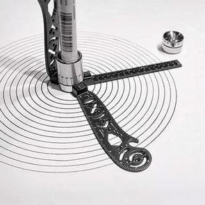 Multi-functional Drawing Ruler Creative Drawing Tool Magnetic Compass Ruler(Black)