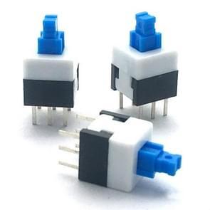 10 stuks blauw wit zwart sleutelschakelaar Zelfvergrendelende schakelaar  specificatie: 8x8mm