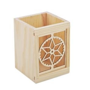 Hollow Wooden Pen Holder Original Pine Student Stationery Desktop Square Box(Single Hexagon star)