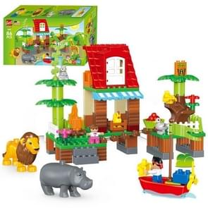 1032-86 PCS Gegle Children Large Particles Enlightenment Blocks Assembled Theme Jungle Adventure Scene Educational Toys