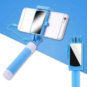 Mini Roestvrij stalen opvouwbare afstandsbediening Selfie Stick met achteruitkijkspiegel (Blauw)