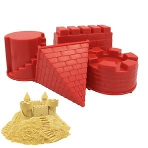 4 PCS Children Educational Toys Castle Molds Play Sand Tools(Red)