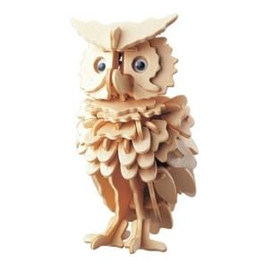 3D Wooden Owl Puzzle Jigsaw Woodcraft Kit DIY Construction Puzzle Toys for Children(Original Color)