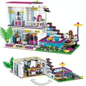Geassembleerde bouwstenen meisje Villa model kinderen educatief speelgoed 3008 (huis van zanger Li Wei)