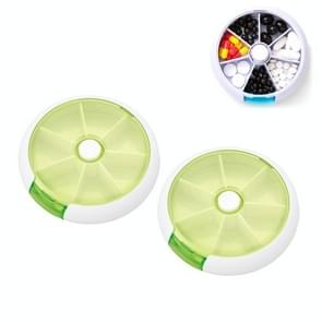 2 PCS Creative Multifunctional Round Portable Seven-grid Rotating Plastic Pill Box(Green)