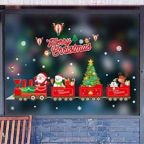 Christmas Wall Stickers Window Glass Festival Wall Stickers Santa Mural New Year Home Decoration(Merry Christmas)