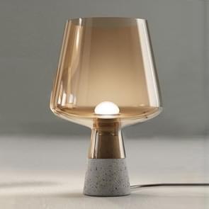 Living Room Bedroom Bedside Study Creative Simple Concrete Garden Glass Table Lamp, CN Plug, Size:Small(Cognac)