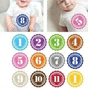 12 PCS/Set Newborn Baby Month Stickers 1-12 Months for Photo Keepsakes
