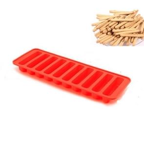 10 Even Strips of Silicone Mold Sausage Hot Dog Ham Cake Baking Finger Biscuit Mold(Red)