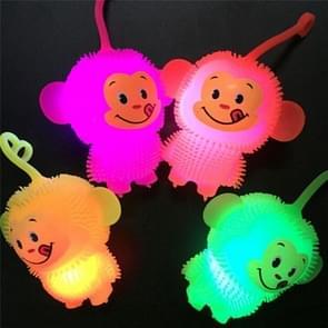 Kinderen creatieve kleurrijke gloed squeeze Monkey smiley vent bal decompressie Toy (Random kleur levering)