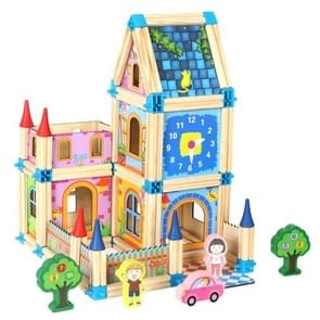 Colorful Children Toy Building Blocks Wooden Model Stereo Puzzle House 128 PCS