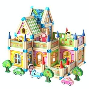 Colorful Children Toy Building Blocks Wooden Model Stereo Puzzle House 268 PCS