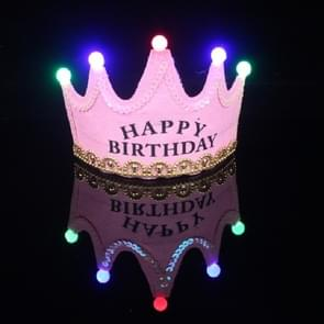 Children's Birthday Party Supplies Crown LED Light Hoop Dress Hat (Pink Happy)