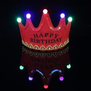 Children's Birthday Party Supplies Crown LED Light Hoop Dress Hat(Red Happy)