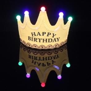 Children's Birthday Party Supplies Crown LED Light Hoop Dress Hat (Yellow Happy)