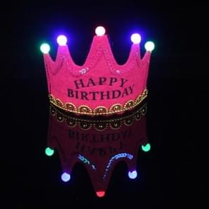 Children's Birthday Party Supplies Crown LED Light Hoop Dress Hat (Rose Red Happy)