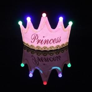 Children's Birthday Party Supplies Crown LED Light Hoop Dress Hat (Pink Princess)