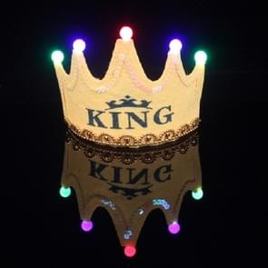 Children's Birthday Party Supplies Crown LED Light Hoop Dress Hat (Yellow King)