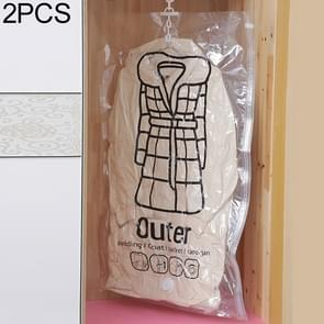 2 PCS Side Pull Hanging Vacuum Compression Bag Clothes Storage Finishing Dust Cover