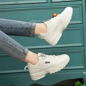 Women Old Shoes Thick Bottom Increased Wild Sports White Shoes, Shoe Size:37(White)