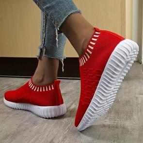 New Large Size The Trend Of Women Shoes Wild Sports Leisure Flying Running Shoes, Shoe Size:41(Red)