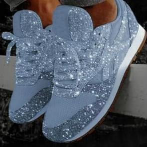 Autumn and Winter Sponge Sequins Breathable Platform Sports Shoes, Size:37(Light Blue)