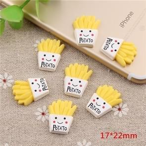 10 stuks frietjes hars kinderen DIY accessoires  grootte: 1.7 x 2.2 cm (geel)