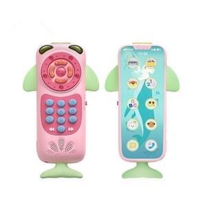 Baby multifunctionele afstandsbediening puzzel vroege onderwijs muziek touch screen simulatie telefoon Toy (roze)