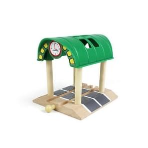 Beech Rail Hovering Railroad Station Parallel Bars Crossing Wooden Toys, Style:Green Station