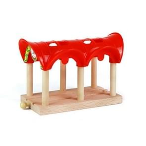 Beech Rail Hovering Railroad Station Parallel Bars Crossing Wooden Toys, Style:Red Parking Station