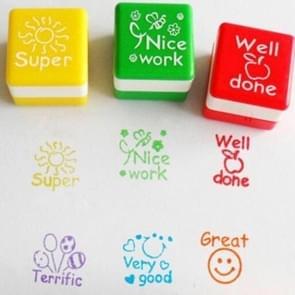 24 STKS/doos leraar reacties cartoon plastic vierkante stempels kleurrijke patroon kinderen speelgoed stempels