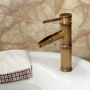 Antique Retro Hot Cold Water Bathroom Counter Basin Bamboo Waterfall Basin Copper Faucet, Specifications:Breaking 2 Knots