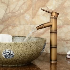Antique Retro Hot Cold Water Bathroom Counter Basin Bamboo Waterfall Basin Copper Faucet, Specifications:Breaking 3 Knots