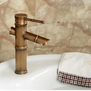 Antique Retro Hot Cold Water Bathroom Counter Basin Bamboo Waterfall Basin Copper Faucet, Specifications:Early 2 Knots