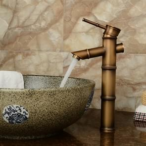 Antique Retro Hot Cold Water Bathroom Counter Basin Bamboo Waterfall Basin Copper Faucet, Specifications:Early 3 Knots