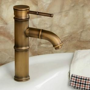 Antique Retro Hot Cold Water Bathroom Counter Basin Bamboo Waterfall Basin Copper Faucet, Specifications:Elbow 2 Knots