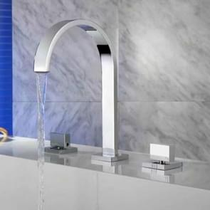 Brushed Double Handle Hot and Cold Wash Basin Copper Bathroom Basin Faucet, Color:Silver